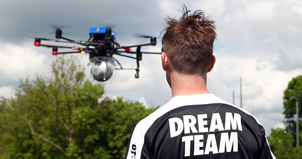 Highest soccer ball dropped and controlled drone