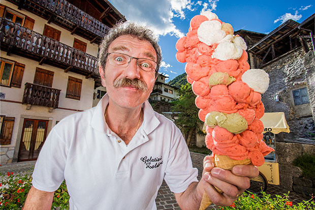 Most ice cream scoops balanced on a cone GWR photo