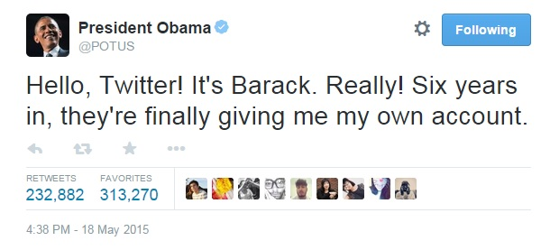 POTUS first tweet