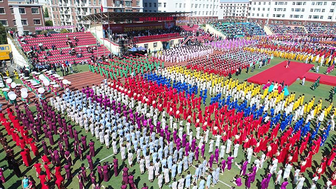Largest gathering of people wearing cheongsam aerial view