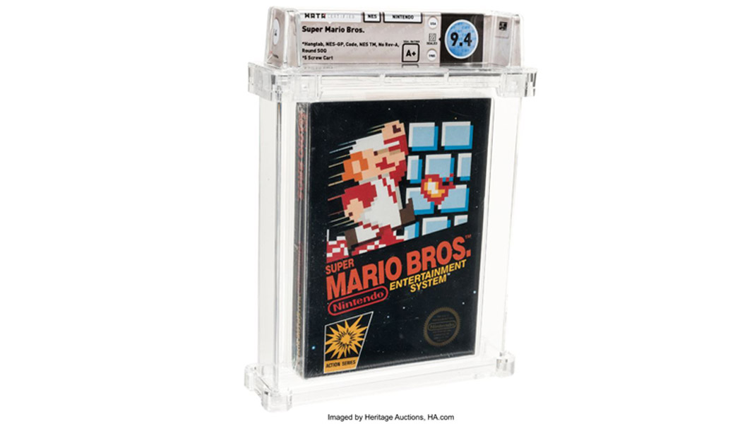 Packshot of Super Mario Bros game from 1985 in original case on white background