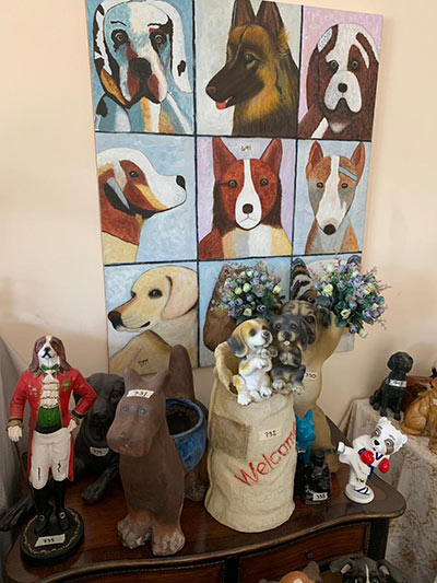 Largest collection of dog-related items painting