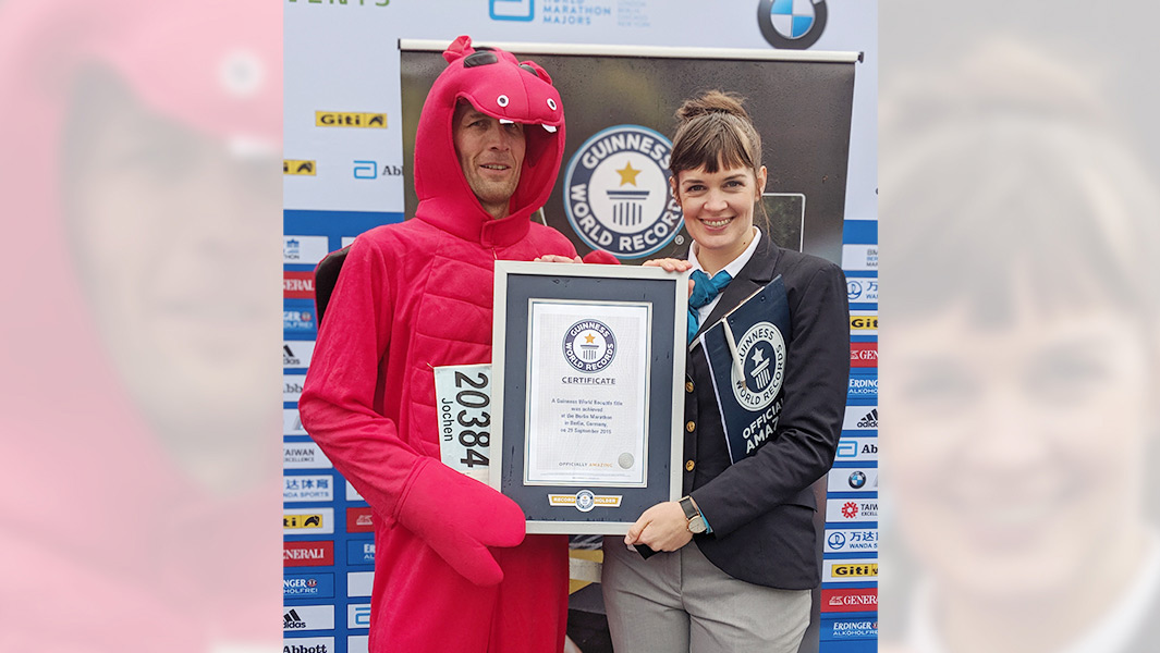 Fastest marathon dressed as a dragon at the Berlin Marathon 2019