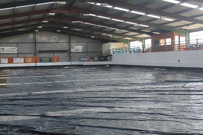 The indoor arena in the Ennis Showgrounds before the blanket was laid out