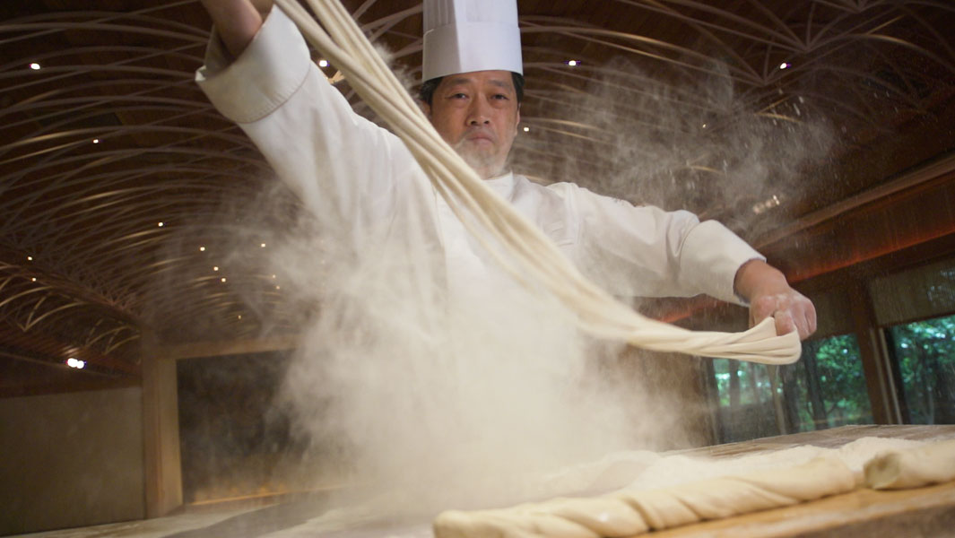 The longest egg noodle (hand-made) measures 183.72 m (602 ft 9 in), and was achieved by Hiroshi Kuroda (Japan) in Minato, Tokyo,