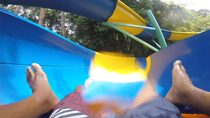 Longest mat water slide spiral section